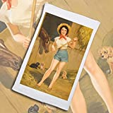 Pixy Ink Sports Towel : Vintage Pin-Up Poster Print On The Farm - By Walt Otto