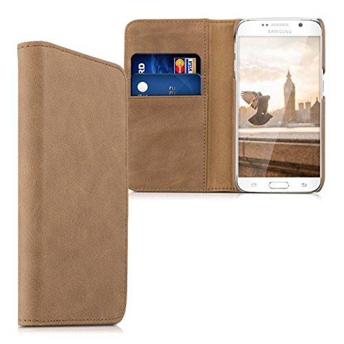 kalibri-Leder-Hlle-James-fr-Samsung-Galaxy-S6-S6-Duos-Echtleder-Schutzhlle-Wallet-Case-Style-mit-Karten-Fchern-in-Cognac