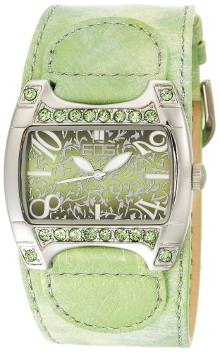 EOS New York Women's 84LGRN Bliss Green Leather Strap Watch
