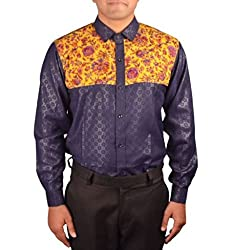 Riverbero Men's Casual Shirt (SN_DFS_221_Blue_42)
