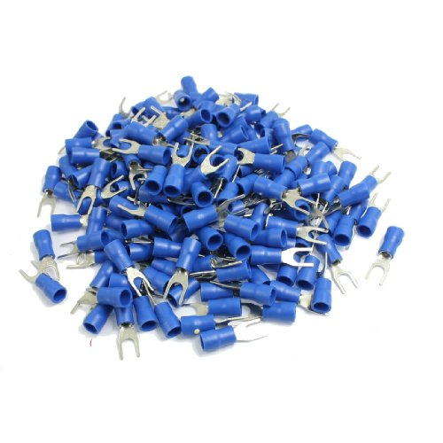 Amico 200 Pcs AWG 16-14 Blue Sleeve Pre Insulated Fork Terminals Connectors
