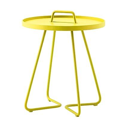 SFBZ Pequeña mesa lateral Moderno Simple Creative Multifuncional Pequeña mesa redonda Sofá Side pequeña mesa de café Mesa de centro (amarillo) mesas auxiliares ( Tamaño : L )