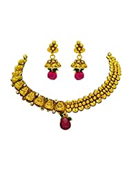 Antique Gold Plated Designer Traditional Bridal Necklace Set With Designer Earring