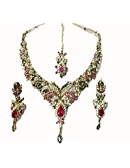 Sneh Beautifully Carved Stone Studded Necklace Set For Women