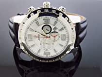 Aqua Master Round 50mm 24 Diamonds Watch Stainless Steel Case & White Face