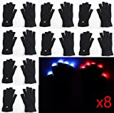 16 gloves ( 8 Pairs ) of 7 Mode LED Light Up Flashing Red Blue Green Glow Rave Black White Finger Gloves USA Seller ~ We Pay Your Sales Tax - Halloween Christmas Dance Party