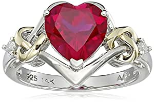 Sterling Silver and 14k Yellow Gold Diamond and Heart-Shaped Created Ruby Ring (0.03 cttw, I-J Color, I3 Clarity), Size 5