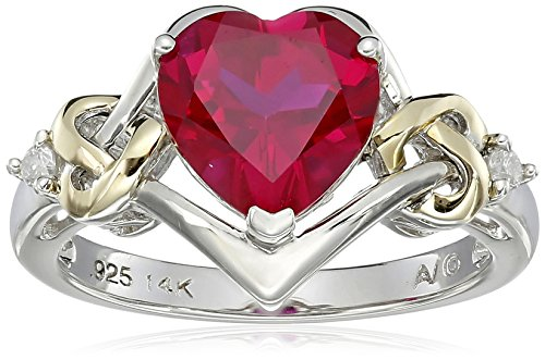 St Silver & 14k Yellow Gold Diamond & Created Ruby Ring