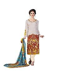 White Printed Lawn Cotton Pakistani Salwar Suit