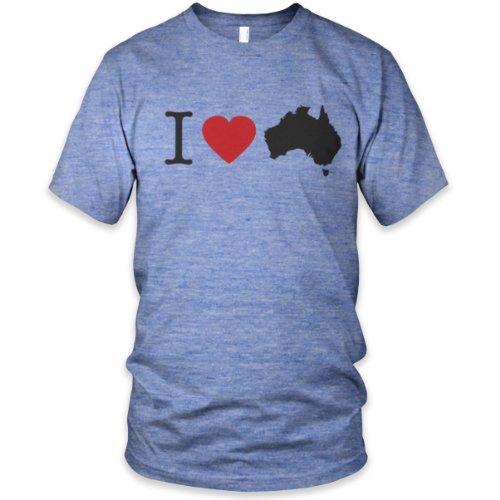 Vintage I Heart Australia Tri-Blend T-Shirt, Athletic Blue, L