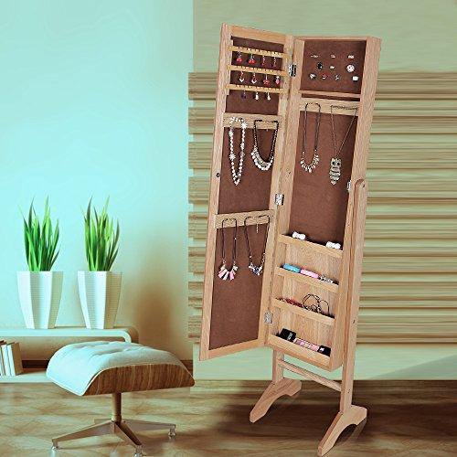 Aparador Mdf Provençal ~ Songmics Armario de pie con espejo para joyas, joyero de madera de pie, color blanco de Songmics