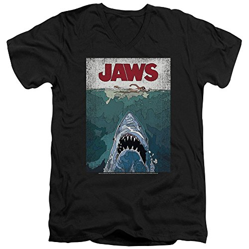 JAWS Classic Shark Thriller Film Line Graphic Poster Adult V-Neck T-Shirt Tee