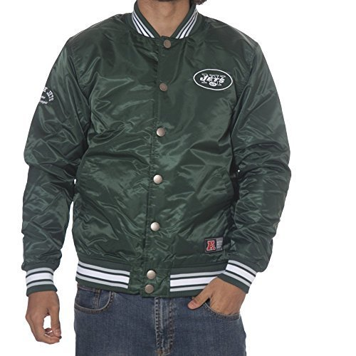 NEW YORK YENKEES JETS MAJESTIC BOMBER UOMO TG M VERDE GLASCOE SATIN JKT GREEN