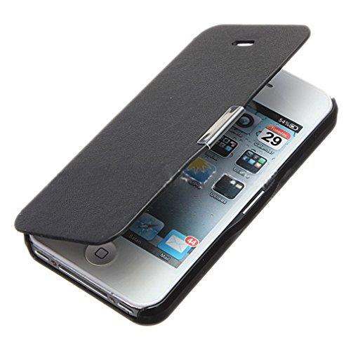 (ラボーグ)La vogue 超薄型 iPhone4 4sに対応 レザーケース 保護カバー 手帳型 横開き シンプルデザイン 無地携帯ケース 使用便利 ブラック