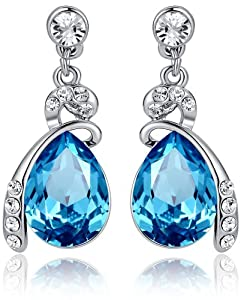 Eternal Love Teardrop Swarovski Elements Crystal Earrings Ocean Blue - Medium Crystal 1144401