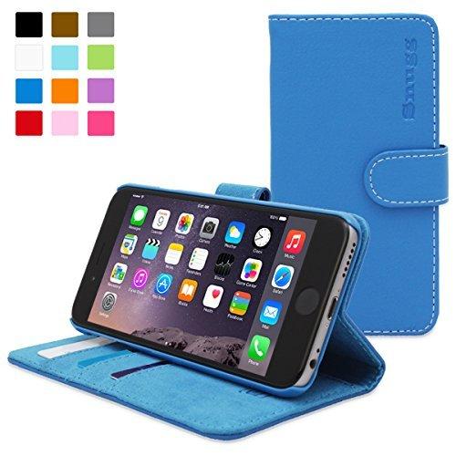 英国Snugg製 iPhone6 Plus用 PUレザー手帳型ケース - 生涯補償付き (エレクトリックブルー)