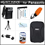 Must Have Accessory Kit For Panasonic Lumix DMC-TS25, DMC-TS20 WaterProof Digital Camera Includes Extended Replacement (900 maH) DMW-BCK7 Battery + Ac/Dc Travel Charger + Floating Strap + USB 2.0 Card Reader + Deluxe Case + Mini Tabletop Tripod + More