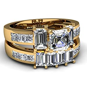 4 Ct Asscher Cut Archetypal Diamond Channel Bridal Engagement Rings Set FLAWLESS 14K Yellow Gold Ring Size-5
