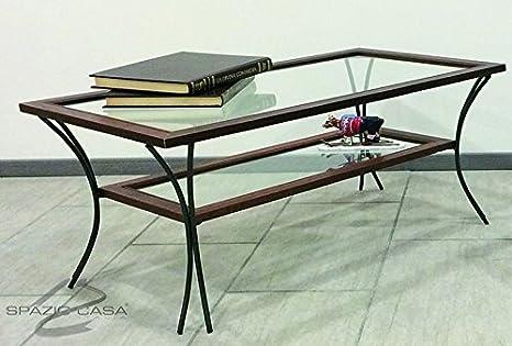 Table de salon en bois avec pieds en fer et étagères en verre-Noyer, 90x 50h. 50