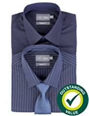 2 Pack Easy Care Plain & Bold Striped Shirts with Tie