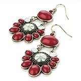 Drop Pierced Fashion Earrings Burnt Gold & Red & Blue