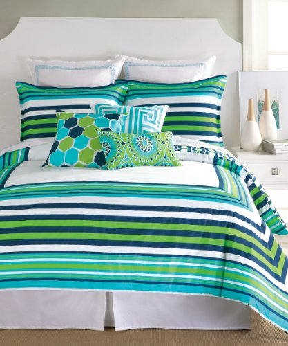 Trina Turk 3-Piece Huntington Stripe Duvet Set, Queen, Blue front-625196