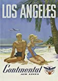 Vintage American USA Travel Poster Los Angeles Continental Airlines A4 Poster / Print / Picture 280GSM Satin Photo Paper