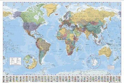Weltkarte als Poster | Politische Weltkarte