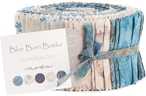 Moda Fabrics Blue Barn Batiks by Laundry Basket Quilts Jelly Roll 42 Fabric Strips (Quilt Fabric Jelly Roll Dots compare prices)