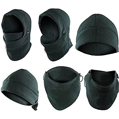 SySrion 6 in 1 Thermal Fleece Balaclava Hood Police Swat Ski Bike Wind Stopper Mask Motor Helmet Parts /Advanced Fleeces, Gray