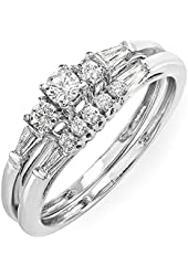 0.40 Carat (ctw) 10k White Gold Round & Baguette Cut Diamond Ladies Bridal Ring Engagement Set