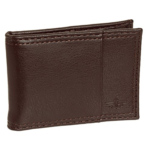 dockers-mens-genuine-leather-money-clip-slim-billfold-bifold-wallet-brown
