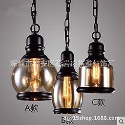 Loft-style glass chandeliers three-set b