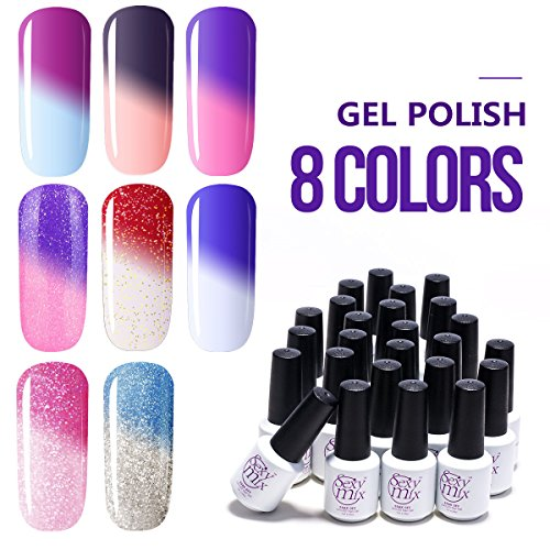 Sexy Mix Mood Gel Nail Polish Set, Soak Off UV Chameleon Color Changing Nail Polish Kit 8 Colors WSGP19 (The Mood Polish compare prices)