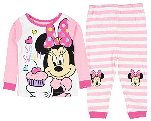 Disney Baby Girls' Minnie Mouse 2 Piece Pajama Sleepwear Set Pink (24 Months)