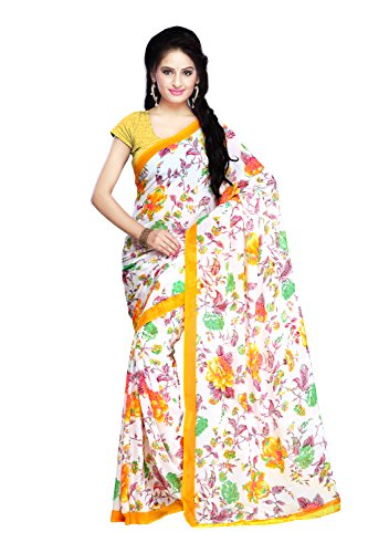 Fabdeal Women Georgette Printed Saree with Blouse Piece  available at amazon for Rs.479