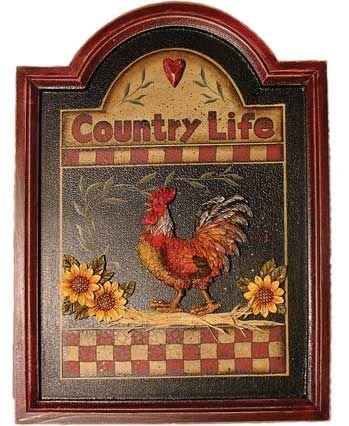 Wall Hanging Country Life Wooden Frame Sign Plaque With A Clucking Rooster And Flowers Sculptures On Front And Wall Hangers On Back 16""
