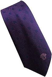 Versace Made In Italy Navy Blue Purple Patterened 100% Silk Men's Tie