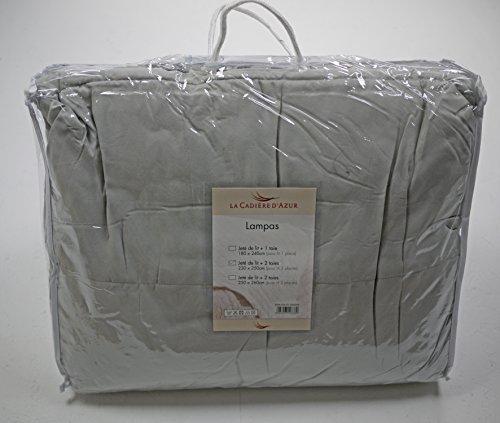 Linder Lampas - Juego de colcha y 2 fundas de almohada (poliéster), color gris, 100% poliéster, gris perla/gris ratón/gris plateado, 230 x 250 cm