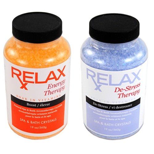Energy & Stress Therapy Aromatherapy Colored Spa Crystals -19 Oz Bottles- Bath Minerals, Salts, & Vitamins For Hot Tub, Jacuzzi