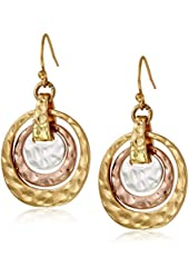 "NINE WEST VINTAGE AMERICA ""Rose Gold Classics"" Tri-Tone Orbital Drop Earrings"