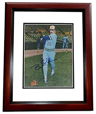 Bob Skube Autographed - Hand Signed Milwaukee Brewers 8x10 Photo MAHOGANY CUSTOM FRAME