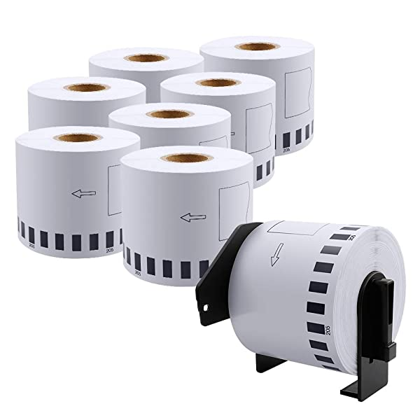 DK-2205 Compatible Brother Continuous Paper Labels Roll, Cut-to-Length Label, 2.4 x 100 Feet for Brother QL-500 QL-570 QL-700 QL-710W QL-720NW Laebl Printer (8 Roll Plus 1 Reusable Cartridge Per Box) (Color: White, Tamaño: 2.4 x 100')