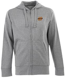 Oklahoma State Signature Full Zip Hooded Sweatshirt (Grey) by Antigua