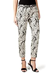 Per Una Speziale Cotton Rich Textured Feather Print Cropped Trousers