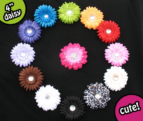 13 Assorted Large Gerber Daisy Flower Hair Clips - (Head Bands NOT included) Toddlers, Infants, Baby, Youth, Girls