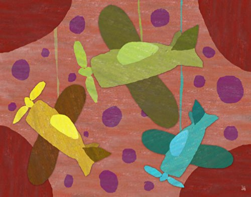 Green Leaf Art Airplanes on Canvas II Art, Small