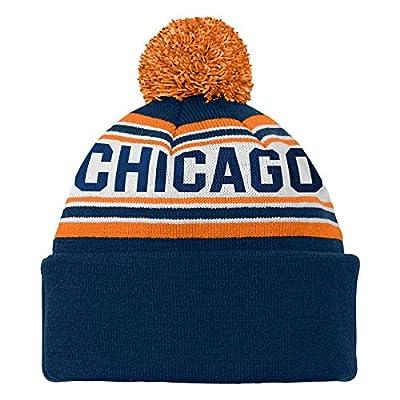 NFL Chicago Bear Youth 8-20 Cuffed Knit Pom Hat, One Size, Dark Obsidian