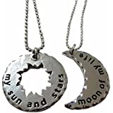 "Game of Thrones Set of 2 His/Hers KHAL/KHALEESI Sun & Moon PENDANTS w/22"" Chains"