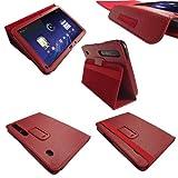 igadgitz PU Leder Tasche Schutzhülle Etui Case Hülle in Rot für Motorola Xoom Android Tablet mit integriertem Stand